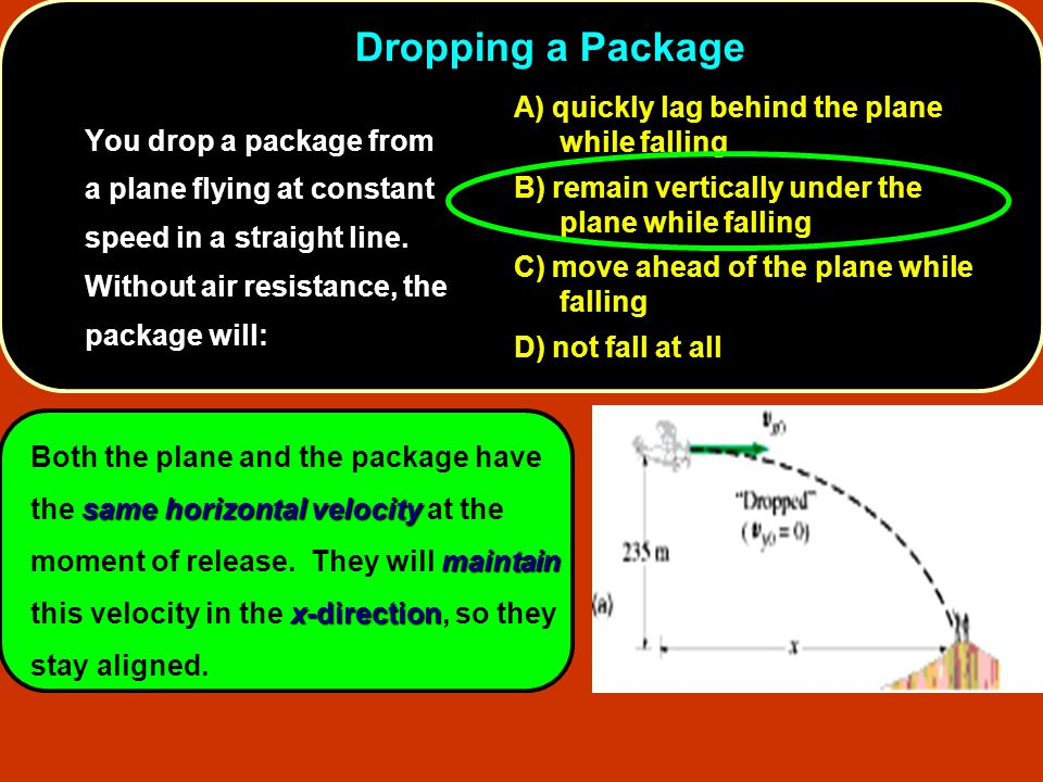 9. Dropping a Package You drop a package from a plane flying at constant speed in a straight line. Without air resistance, the package will: quickly l