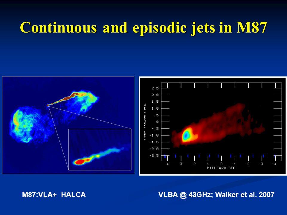 Continuous and episodic jets in M87 M87:VLA+ HALCAVLBA @ 43GHz; Walker et al. 2007