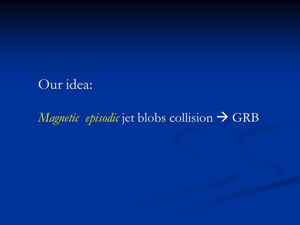 Our idea: Magnetic episodic jet blobs collision  GRB