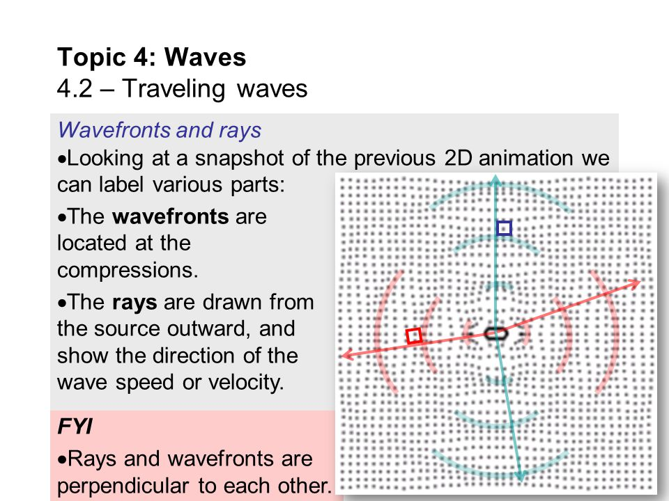 As you watch this animation look at the circular wave fronts as they travel through space from the sound source. Observe further that the waves in the