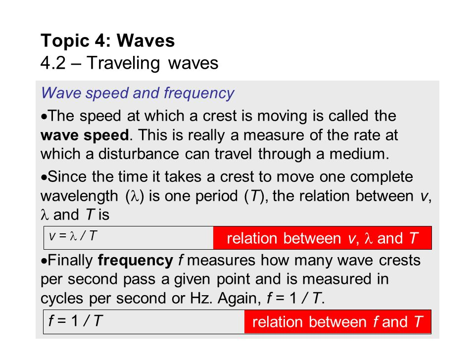 FYI  The period is the same for all particles of the medium. Period and wavelength  The length in the horizontal dimension over which a wave repeats