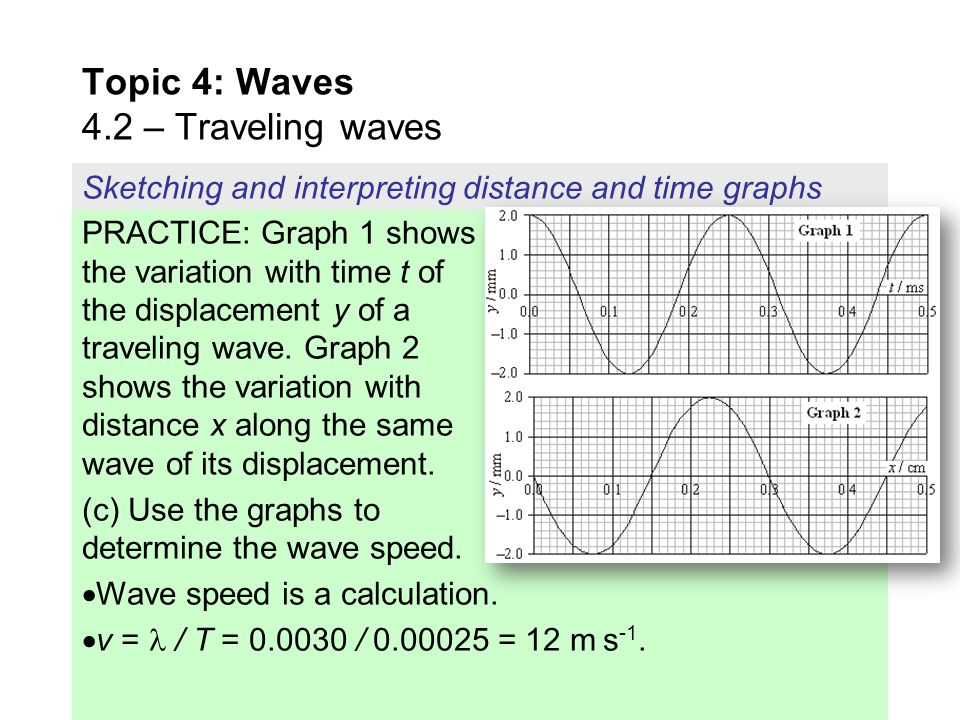 PRACTICE: Graph 1 shows the variation with time t of the displacement y of a traveling wave. Graph 2 shows the variation with distance x along the sam