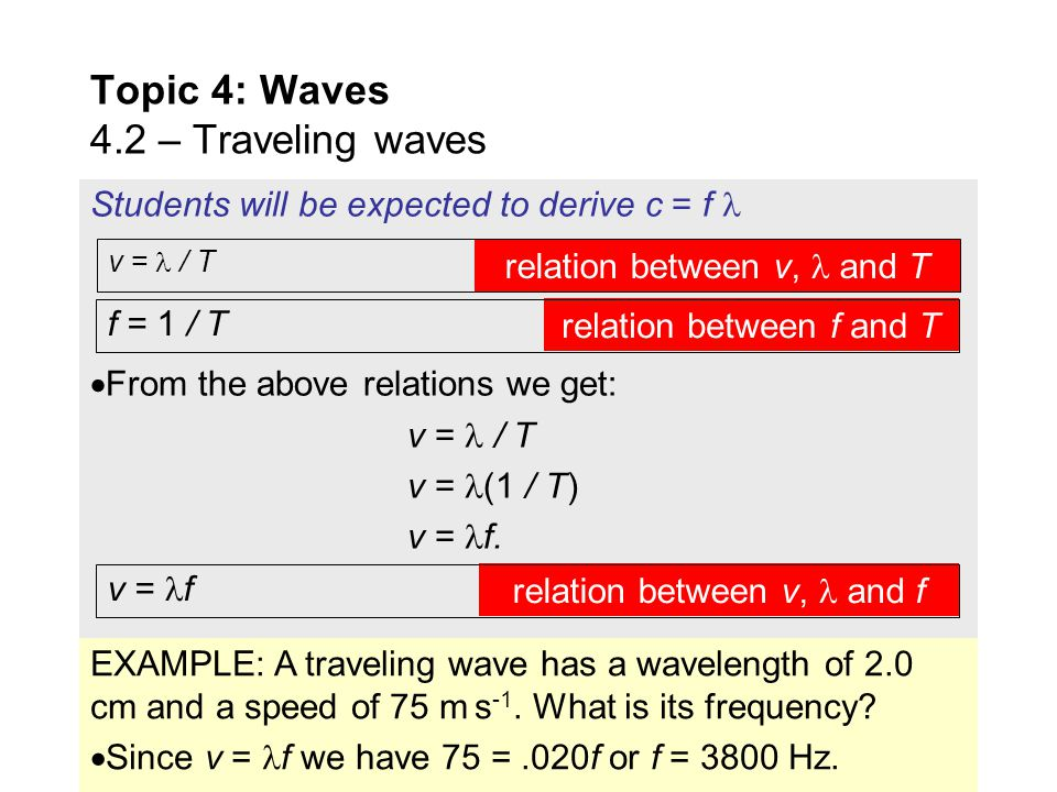 Topic 4: Waves 4.2 – Traveling waves EXAMPLE: Graph 2 shows the variation of the displacement x with distance d from the beginning of the wave at a pa