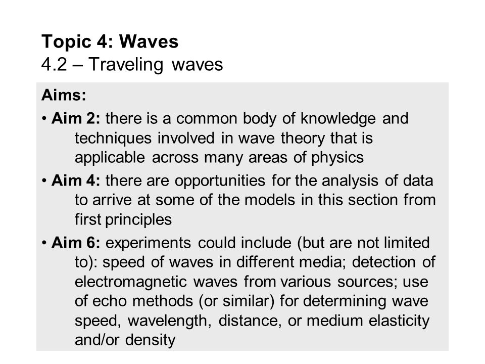 Utilization: Communication using both sound (locally) and electromagnetic waves (near and far) involve wave theory Emission spectra are analysed by co