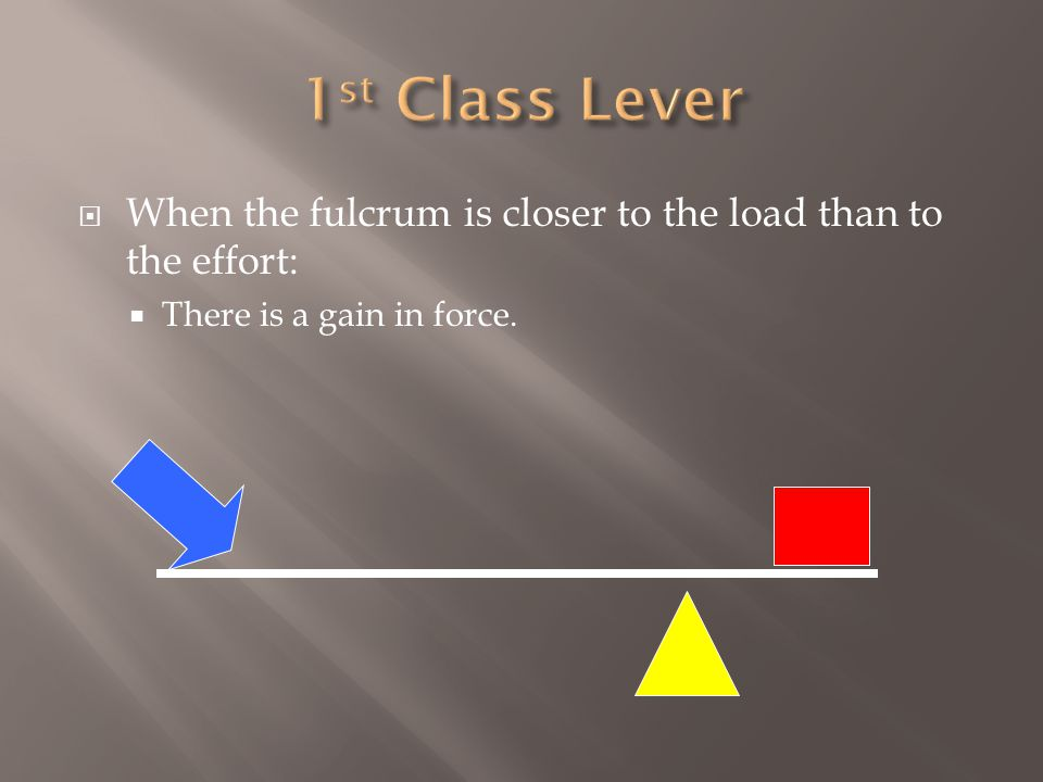  When the fulcrum is closer to the load than to the effort:  There is a gain in force.