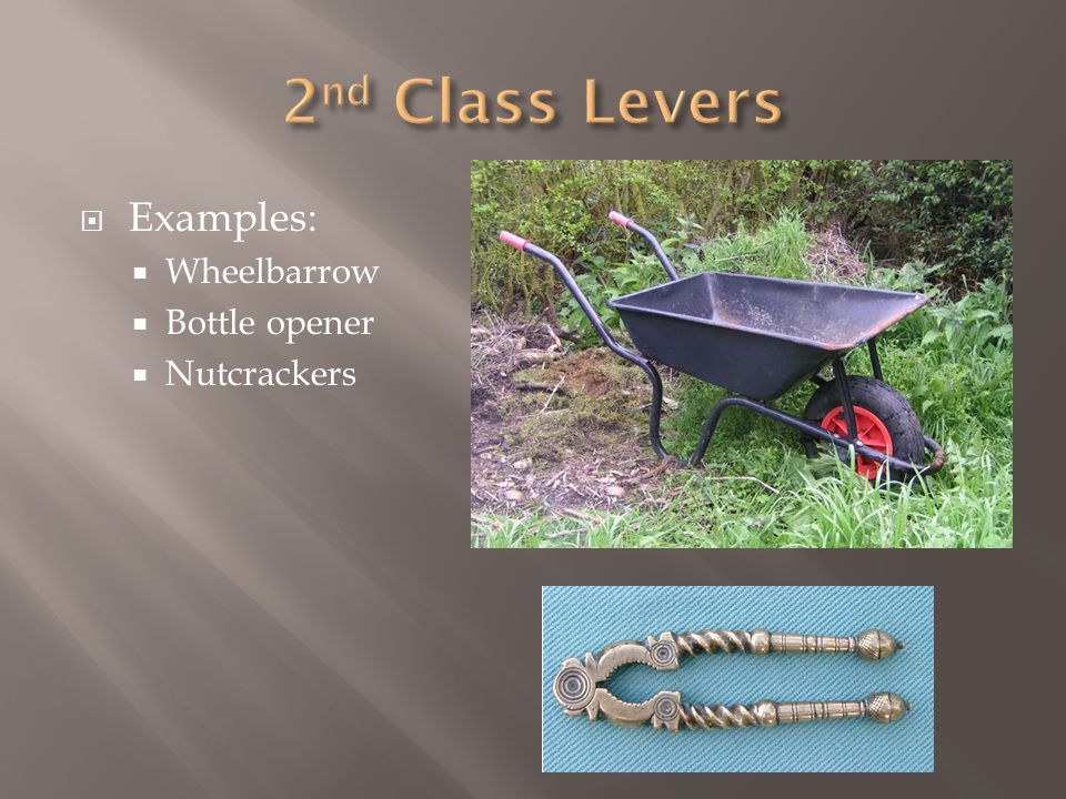  Examples:  Wheelbarrow  Bottle opener  Nutcrackers