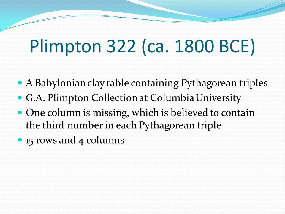 A Babylonian clay table containing Pythagorean triples G.A.