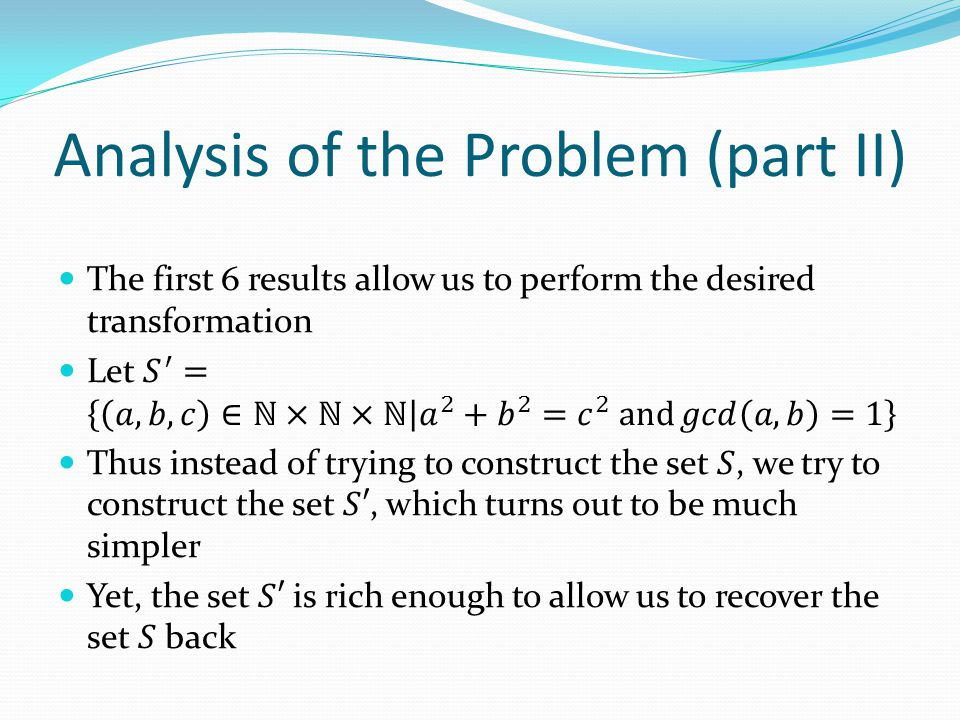 Analysis of the Problem (part II)