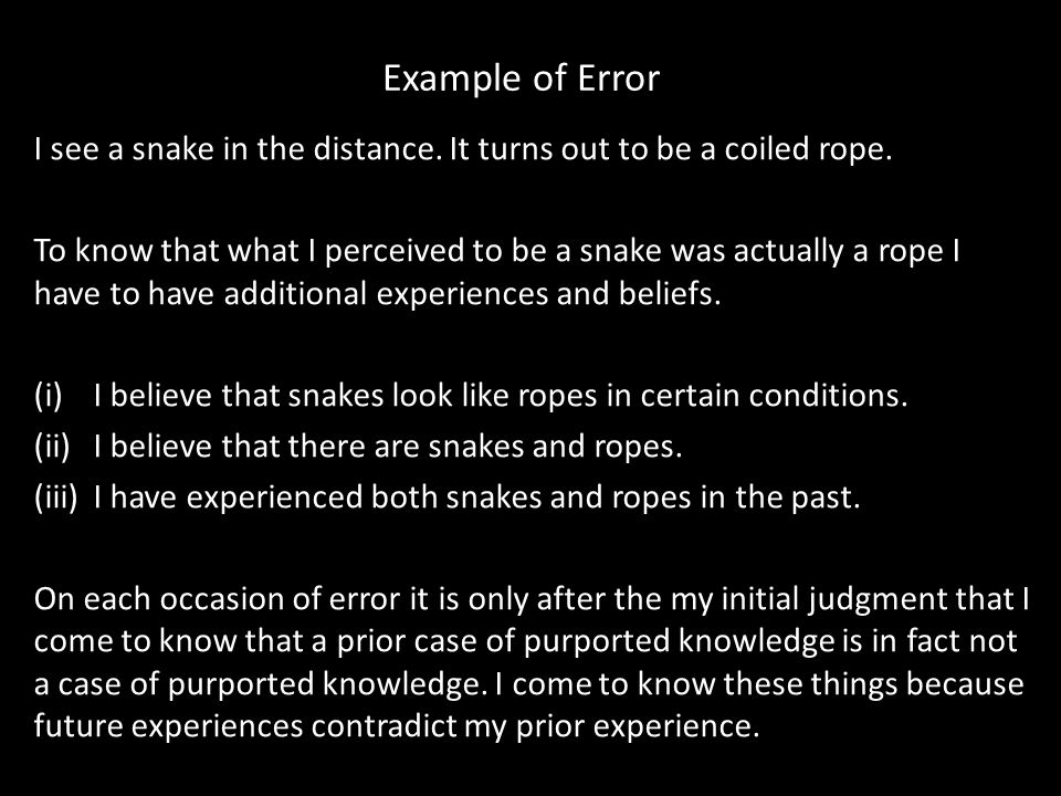 Example of Error I see a snake in the distance. It turns out to be a coiled rope.
