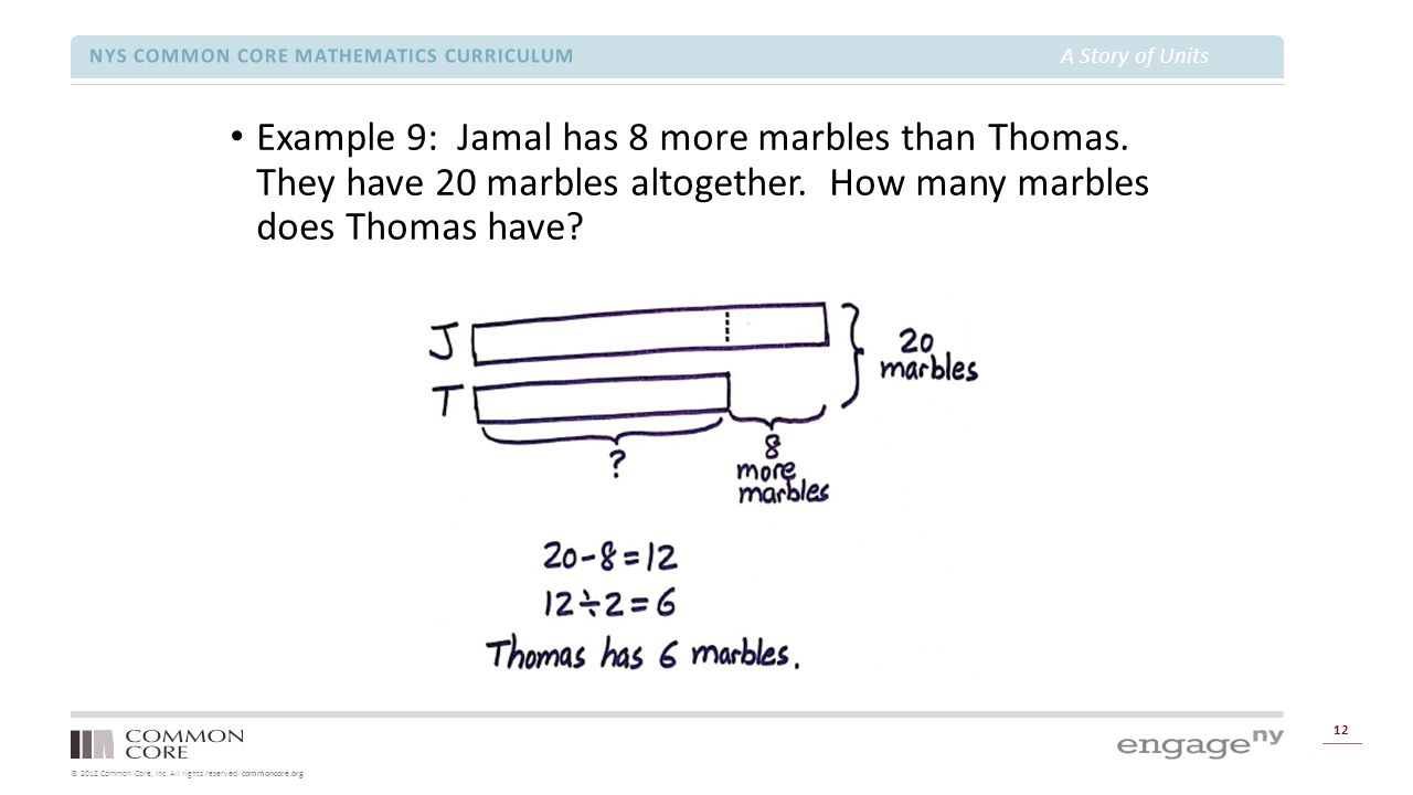 © 2012 Common Core, Inc. All rights reserved. commoncore.org NYS COMMON CORE MATHEMATICS CURRICULUM A Story of Units 12 Example 9: Jamal has 8 more ma