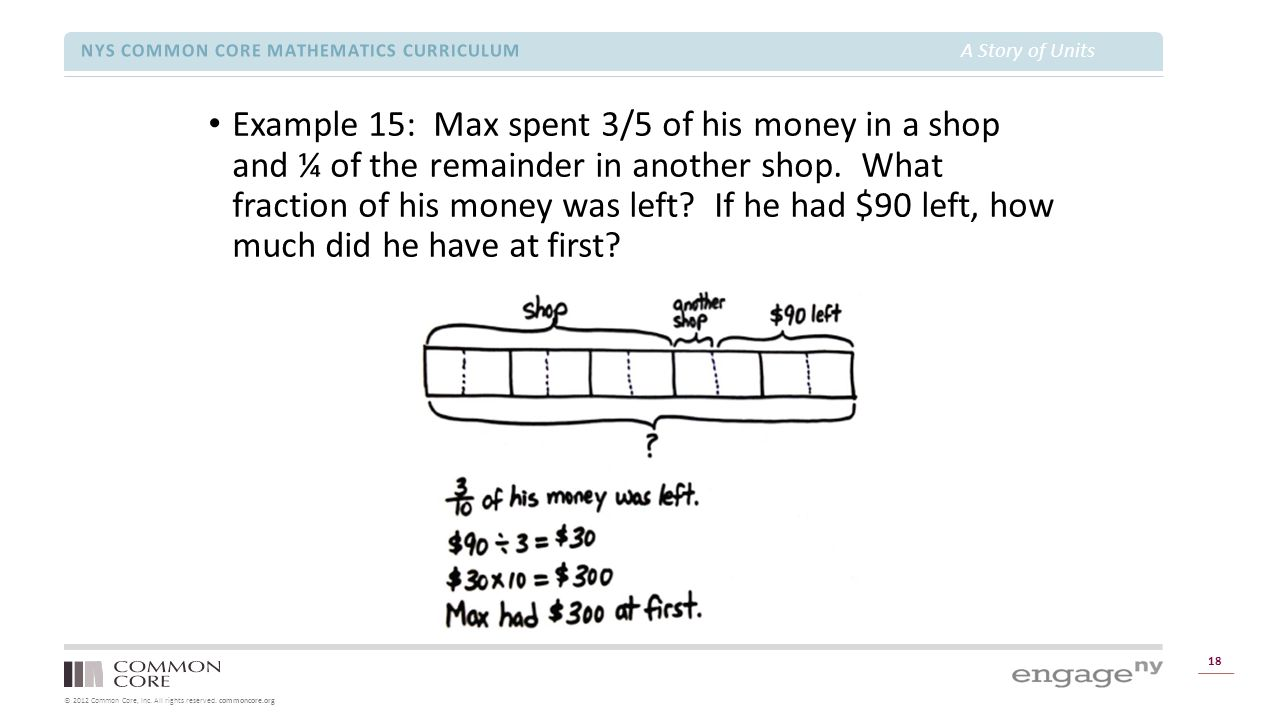 © 2012 Common Core, Inc. All rights reserved. commoncore.org NYS COMMON CORE MATHEMATICS CURRICULUM A Story of Units 18 Example 15: Max spent 3/5 of h