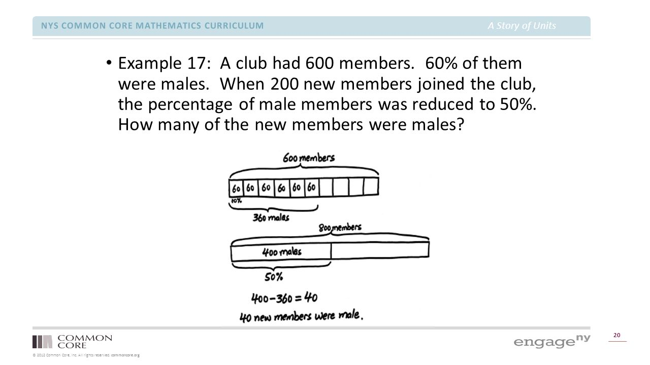 © 2012 Common Core, Inc. All rights reserved. commoncore.org NYS COMMON CORE MATHEMATICS CURRICULUM A Story of Units 20 Example 17: A club had 600 mem