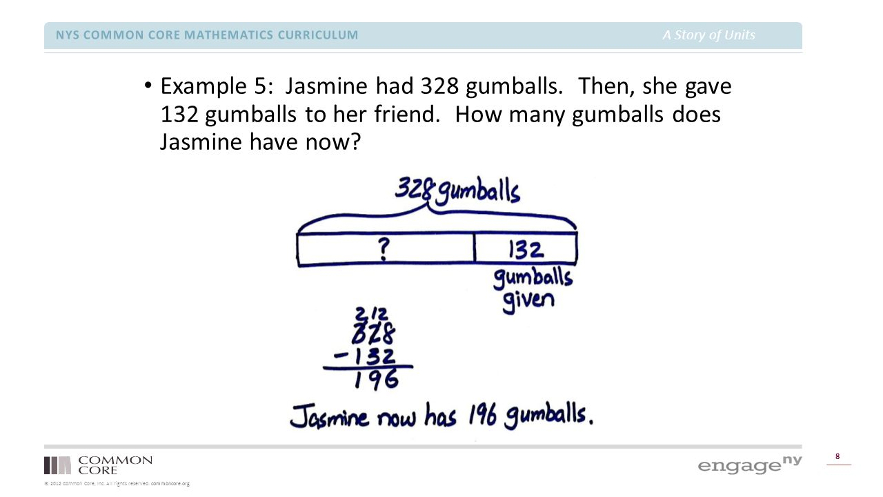 © 2012 Common Core, Inc. All rights reserved. commoncore.org NYS COMMON CORE MATHEMATICS CURRICULUM A Story of Units 8 Example 5: Jasmine had 328 gumb