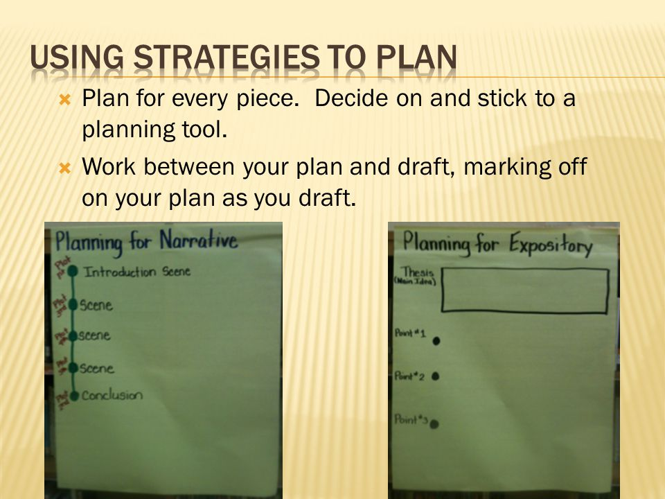  Plan for every piece. Decide on and stick to a planning tool.  Work between your plan and draft, marking off on your plan as you draft.