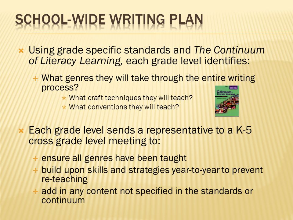  Using grade specific standards and The Continuum of Literacy Learning, each grade level identifies:  What genres they will take through the entire writing process.