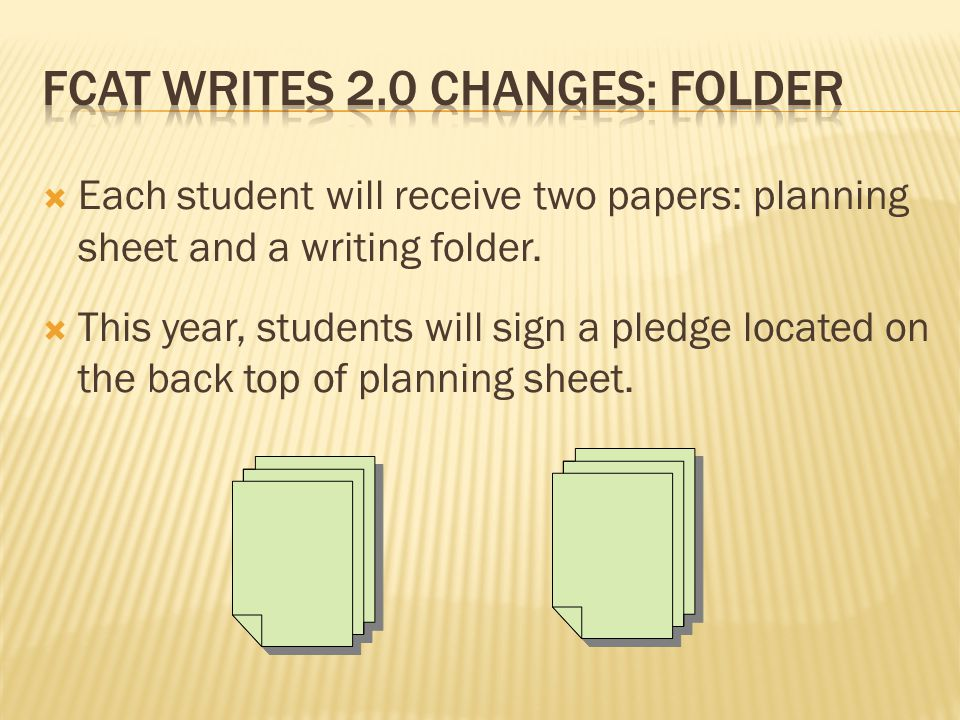  Each student will receive two papers: planning sheet and a writing folder.  This year, students will sign a pledge located on the back top of plann
