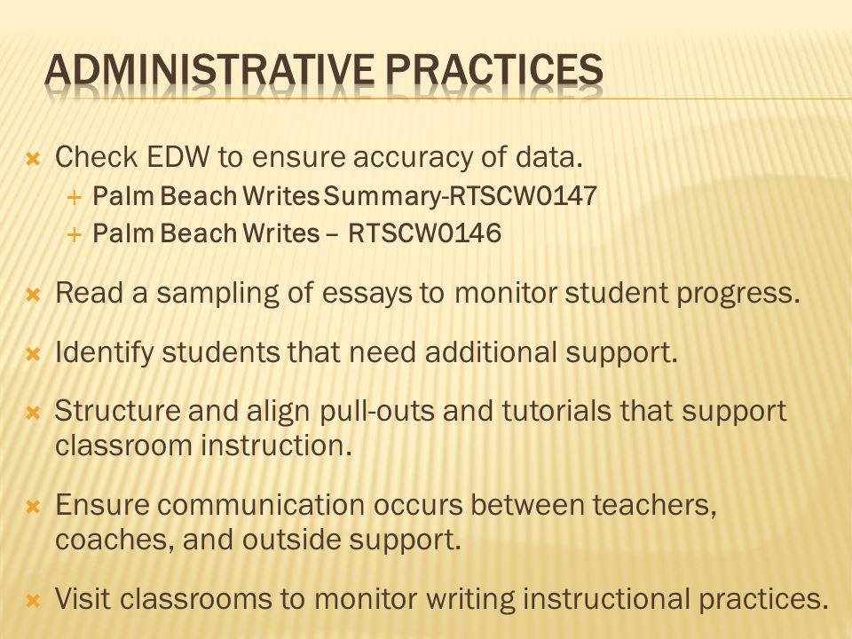  Check EDW to ensure accuracy of data.
