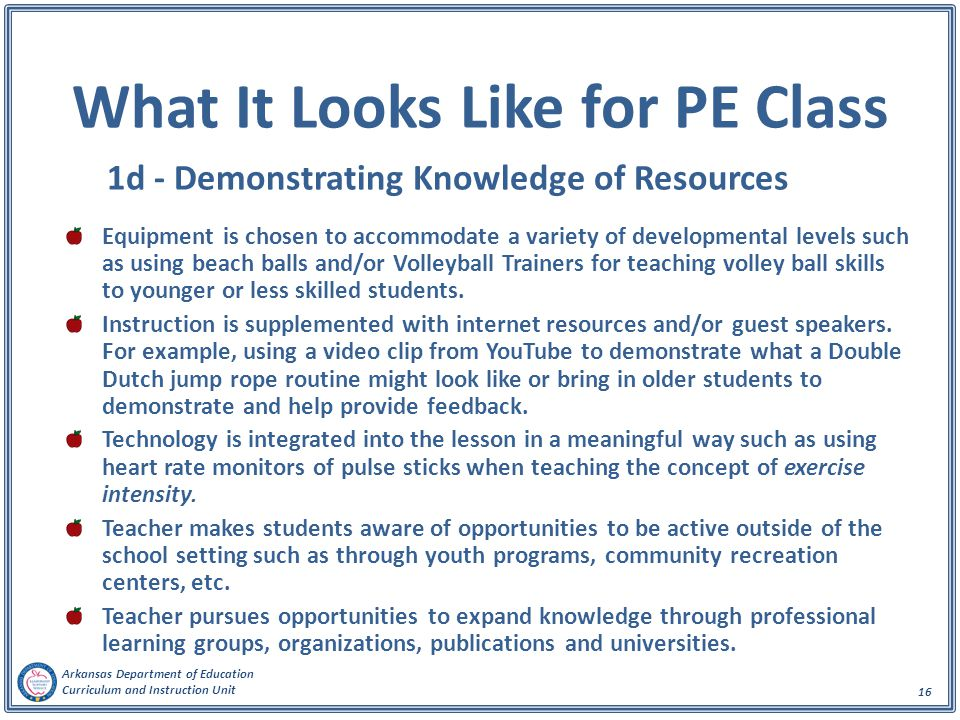 Arkansas Department of Education Curriculum and Instruction Unit 16 What It Looks Like for PE Class 1d - Demonstrating Knowledge of Resources Equipmen