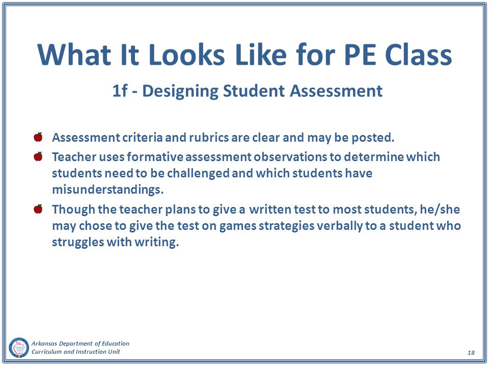 Arkansas Department of Education Curriculum and Instruction Unit 18 What It Looks Like for PE Class 1f - Designing Student Assessment Assessment crite