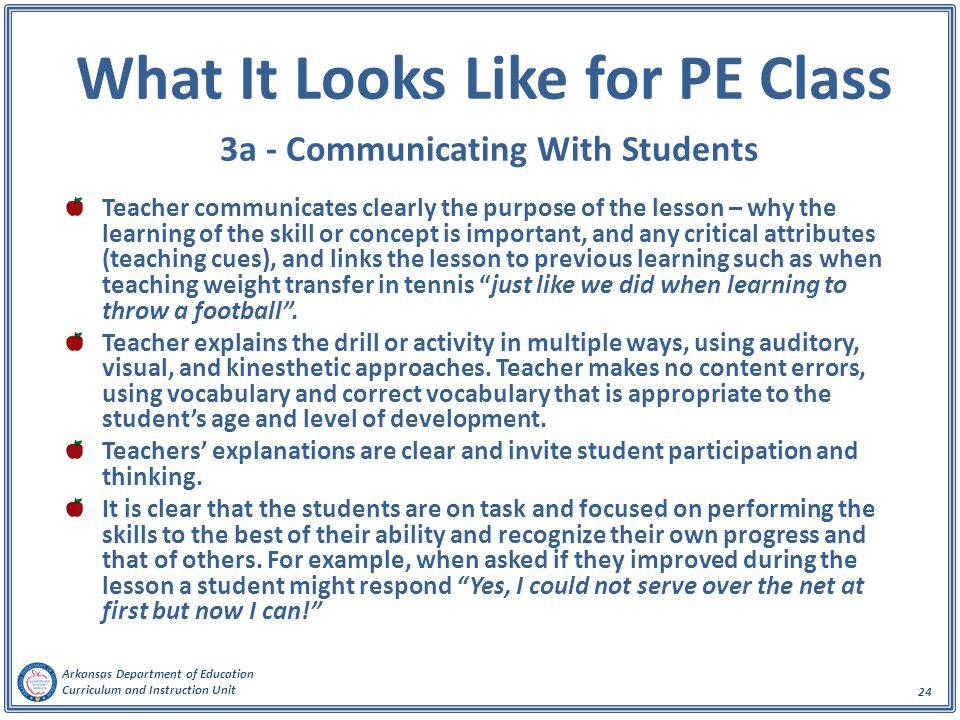 Arkansas Department of Education Curriculum and Instruction Unit 24 What It Looks Like for PE Class 3a - Communicating With Students Teacher communicates clearly the purpose of the lesson – why the learning of the skill or concept is important, and any critical attributes (teaching cues), and links the lesson to previous learning such as when teaching weight transfer in tennis just like we did when learning to throw a football .