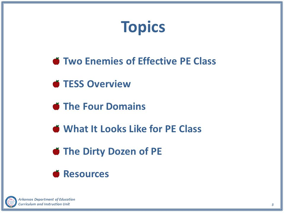 Arkansas Department of Education Curriculum and Instruction Unit 3 Topics Two Enemies of Effective PE Class TESS Overview The Four Domains What It Looks Like for PE Class The Dirty Dozen of PE Resources
