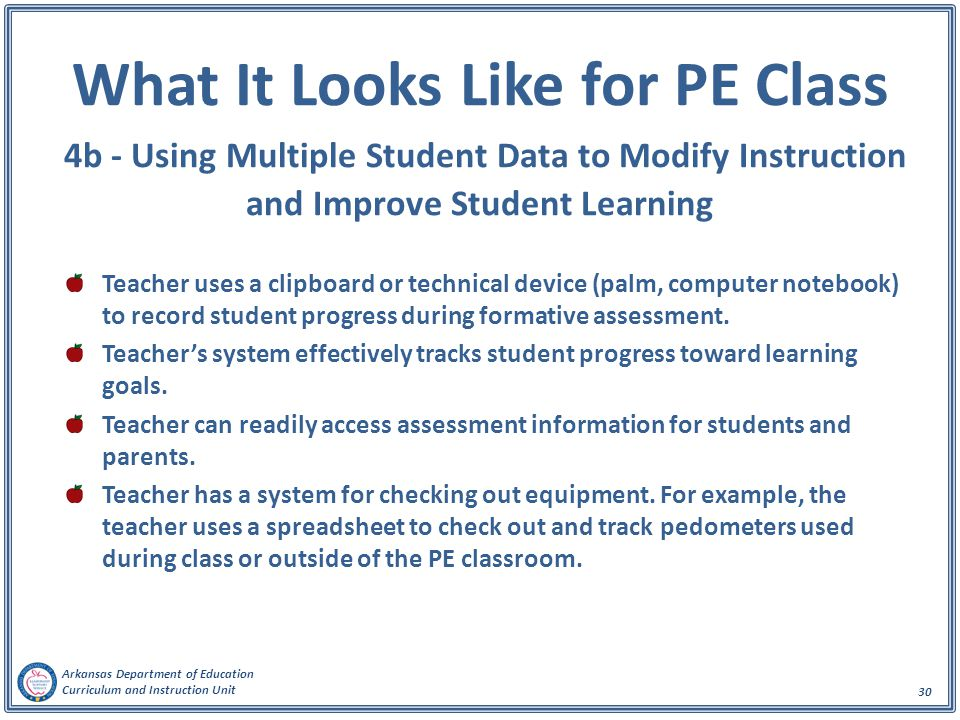Arkansas Department of Education Curriculum and Instruction Unit 30 What It Looks Like for PE Class 4b - Using Multiple Student Data to Modify Instruc