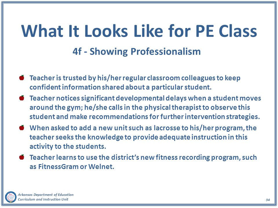 Arkansas Department of Education Curriculum and Instruction Unit 34 What It Looks Like for PE Class 4f - Showing Professionalism Teacher is trusted by