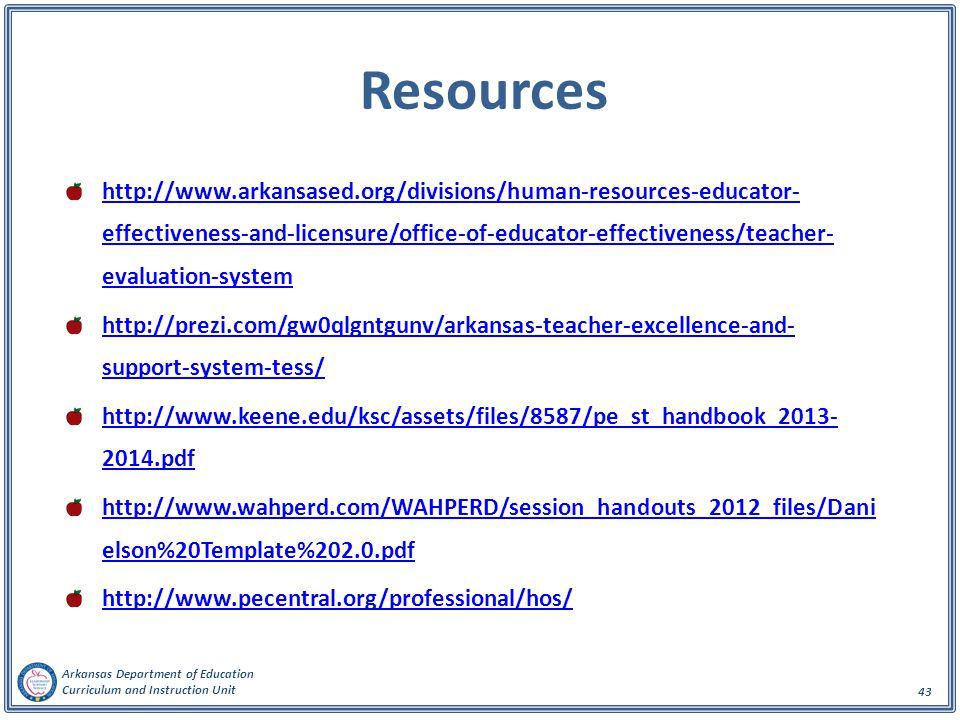 Arkansas Department of Education Curriculum and Instruction Unit 43 Resources http://www.arkansased.org/divisions/human-resources-educator- effectiveness-and-licensure/office-of-educator-effectiveness/teacher- evaluation-system http://prezi.com/gw0qlgntgunv/arkansas-teacher-excellence-and- support-system-tess/ http://www.keene.edu/ksc/assets/files/8587/pe_st_handbook_2013- 2014.pdf http://www.wahperd.com/WAHPERD/session_handouts_2012_files/Dani elson%20Template%202.0.pdf http://www.pecentral.org/professional/hos/