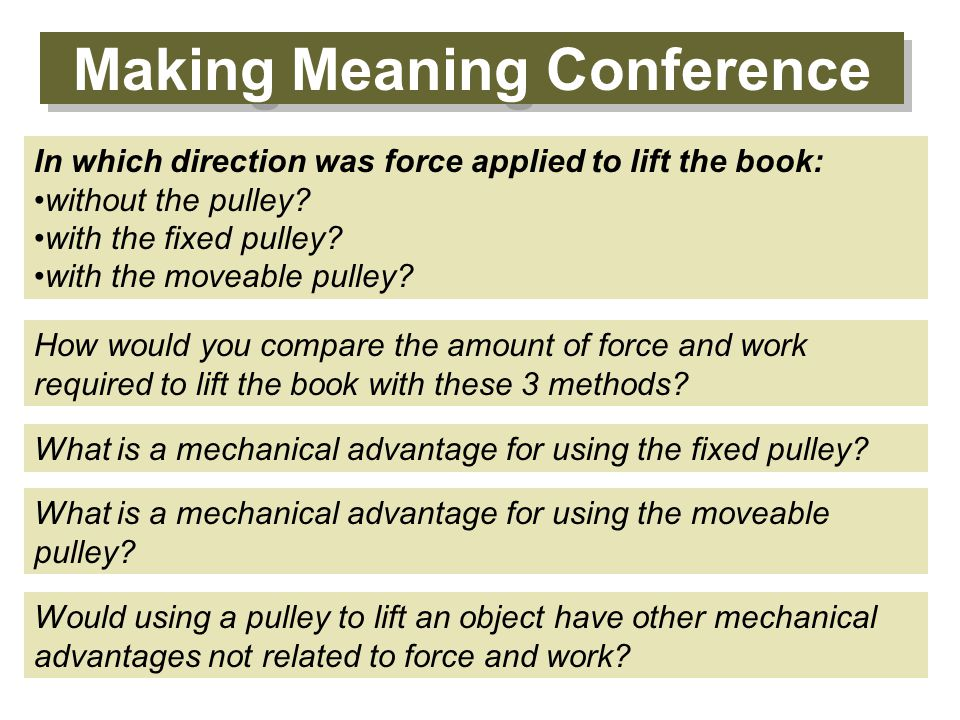 Making Meaning Conference What is a mechanical advantage for using the fixed pulley.