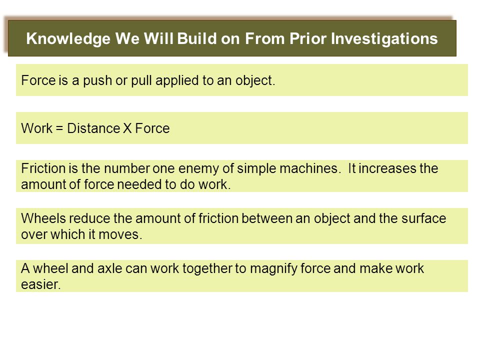 Knowledge We Will Build on From Prior Investigations Work = Distance X Force Force is a push or pull applied to an object.