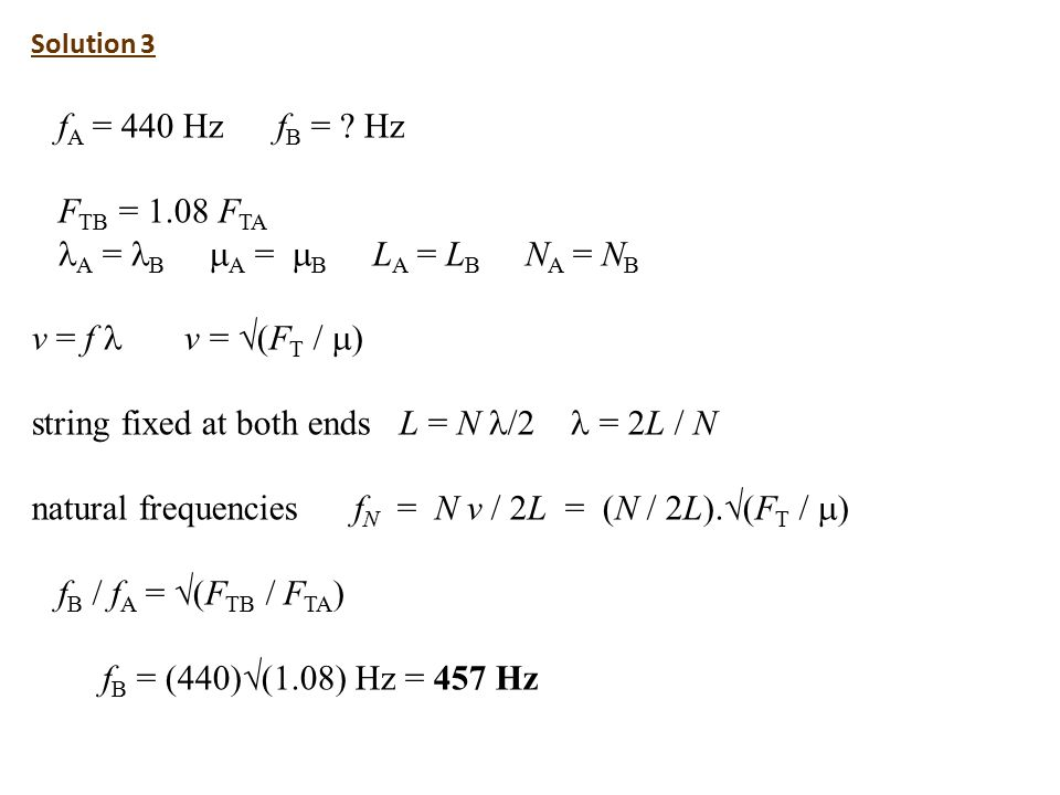 Solution 3 f A = 440 Hz f B = .