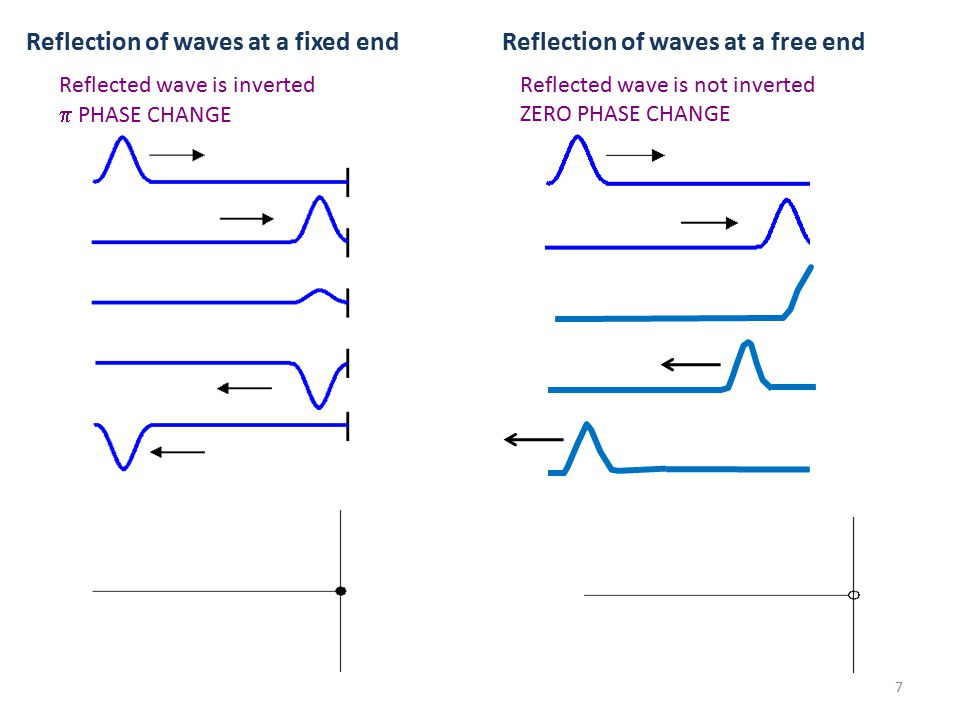 Reflection of waves at a fixed end Reflected wave is inverted  PHASE CHANGE Reflection of waves at a free end Reflected wave is not inverted ZERO PHASE CHANGE 7