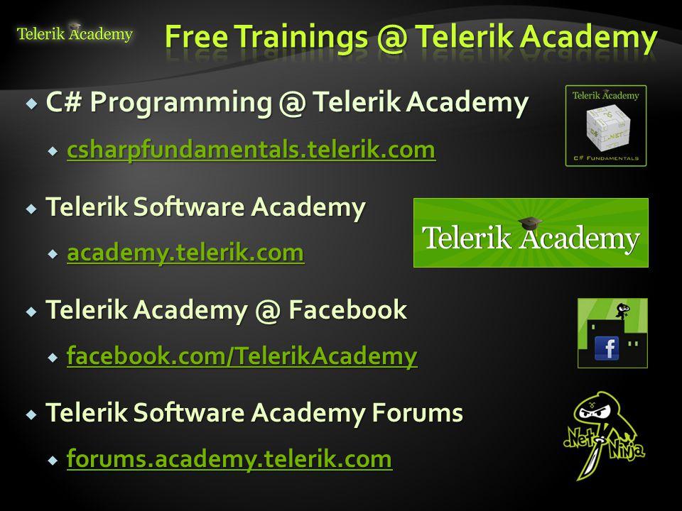  C# Programming @ Telerik Academy  csharpfundamentals.telerik.com csharpfundamentals.telerik.com  Telerik Software Academy  academy.telerik.com ac