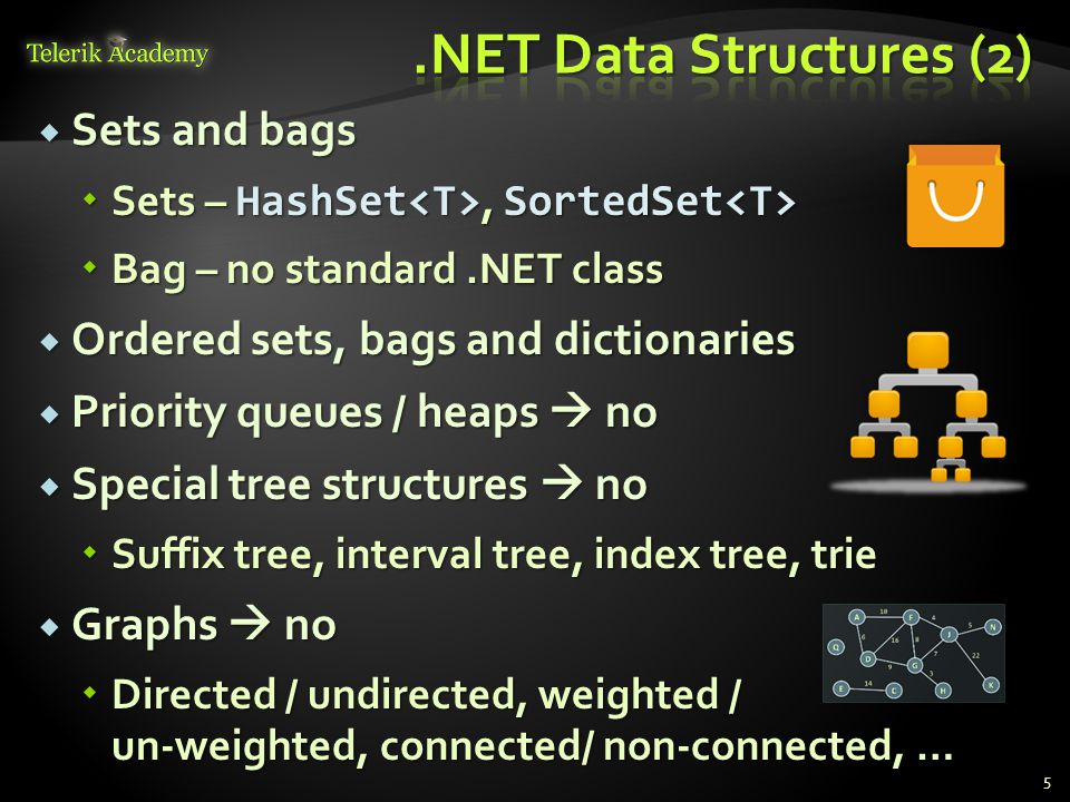  Sets and bags  Sets – HashSet, SortedSet  Sets – HashSet, SortedSet  Bag – no standard.NET class  Ordered sets, bags and dictionaries  Priority queues / heaps  no  Special tree structures  no  Suffix tree, interval tree, index tree, trie  Graphs  no  Directed / undirected, weighted / un-weighted, connected/ non-connected, … 5