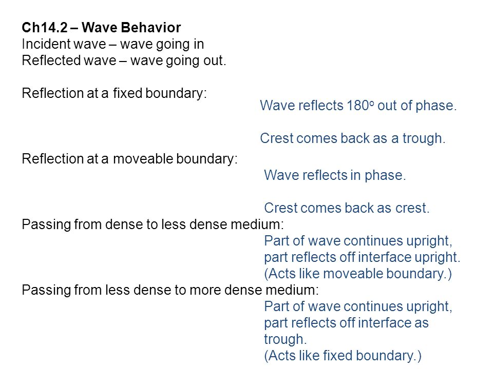 Ch14.2 – Wave Behavior Incident wave – wave going in Reflected wave – wave going out. Reflection at a fixed boundary: Reflection at a moveable boundar