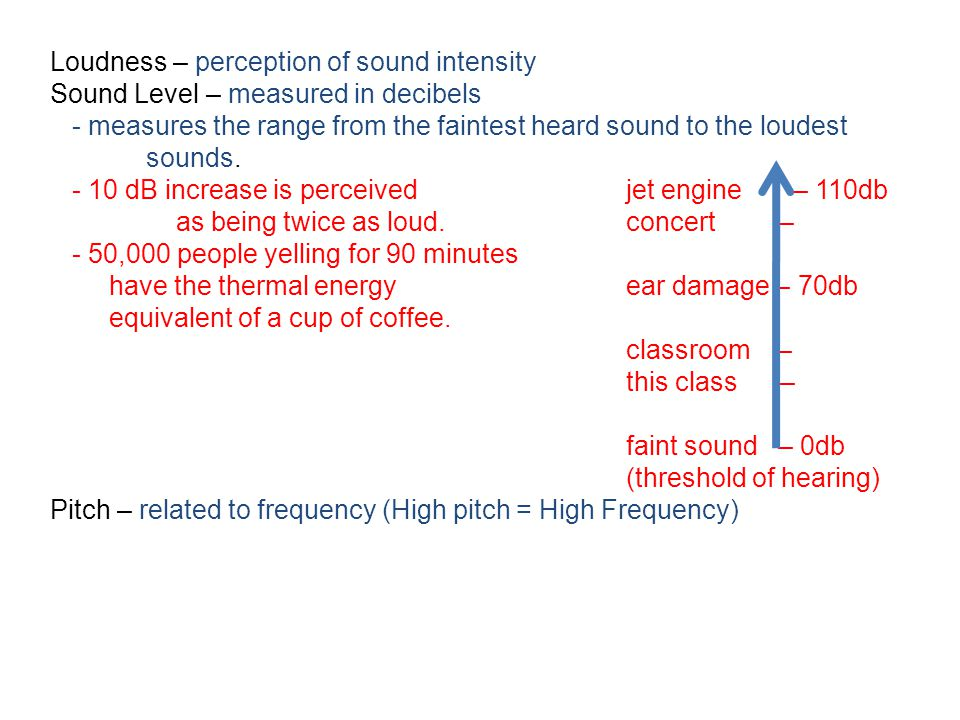 Loudness – perception of sound intensity Sound Level – measured in decibels - measures the range from the faintest heard sound to the loudest sounds.