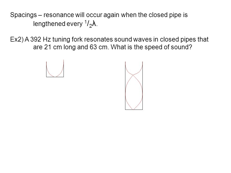 Spacings – resonance will occur again when the closed pipe is lengthened every 1 / 2 λ. Ex2) A 392 Hz tuning fork resonates sound waves in closed pipe
