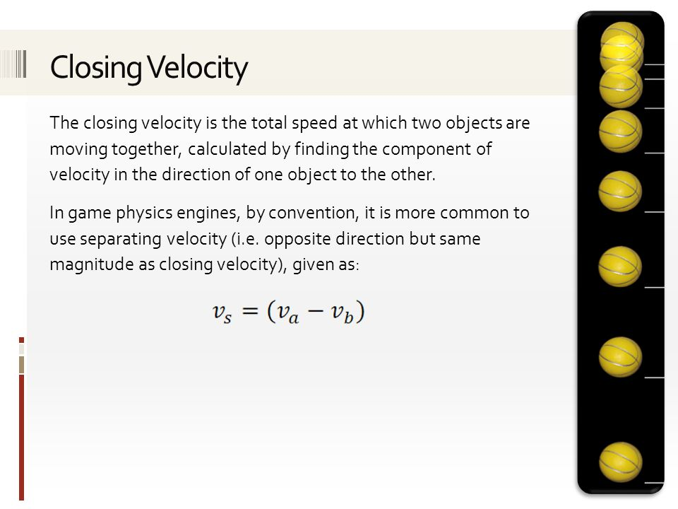 The closing velocity is the total speed at which two objects are moving together, calculated by finding the component of velocity in the direction of one object to the other.
