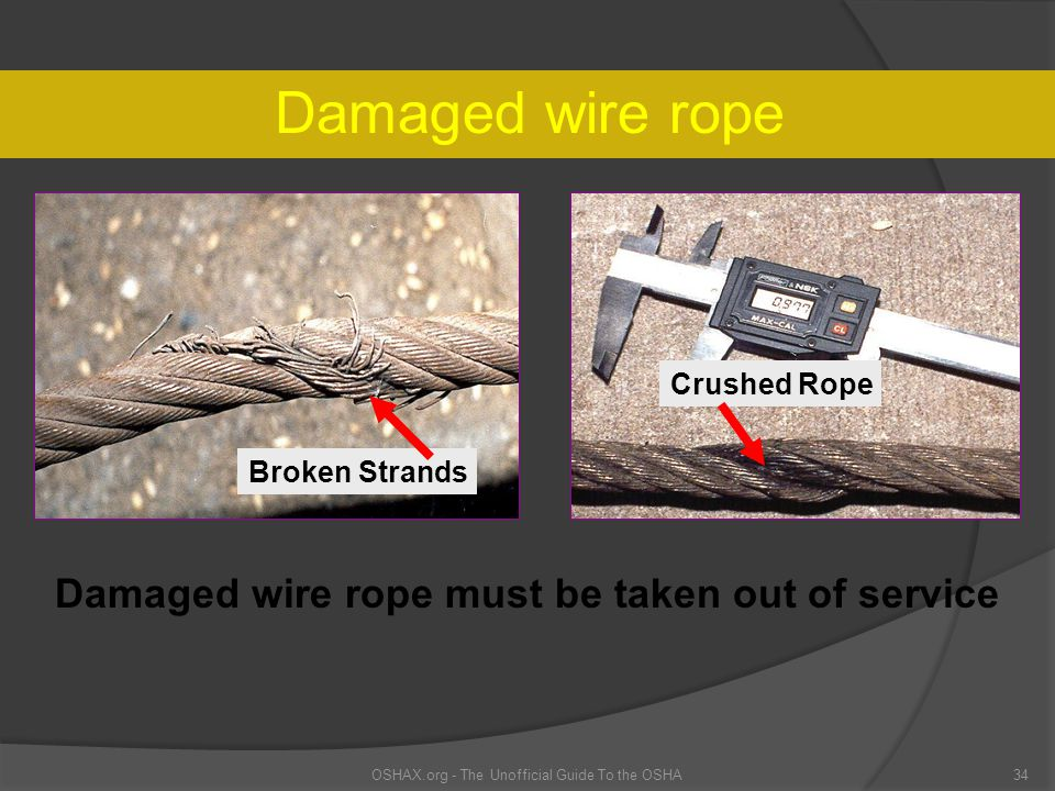 Damaged wire rope OSHAX.org - The Unofficial Guide To the OSHA34 Broken Strands Damaged wire rope must be taken out of service Crushed Rope