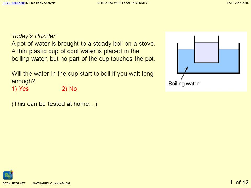 PHYS-1600/2000PHYS-1600/2000 II2 Free Body AnalysisNEBRASKA WESLEYAN UNIVERSITYFALL 2014-2015 DEAN SIEGLAFF NATHANIEL CUNNINGHAM of 12 1 Today's Puzzler: A pot of water is brought to a steady boil on a stove.