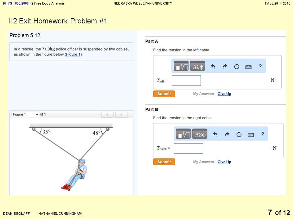 PHYS-1600/2000PHYS-1600/2000 II2 Free Body AnalysisNEBRASKA WESLEYAN UNIVERSITYFALL 2014-2015 DEAN SIEGLAFF NATHANIEL CUNNINGHAM of 12 7 II2 Exit Homework Problem #1