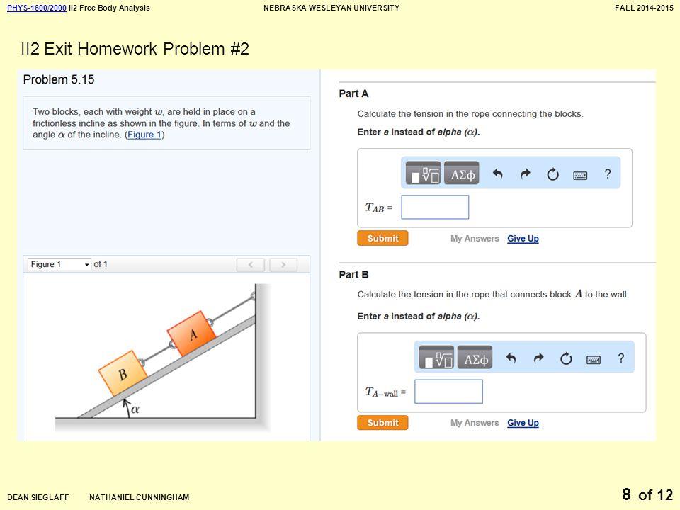 PHYS-1600/2000PHYS-1600/2000 II2 Free Body AnalysisNEBRASKA WESLEYAN UNIVERSITYFALL 2014-2015 DEAN SIEGLAFF NATHANIEL CUNNINGHAM of 12 8 II2 Exit Homework Problem #2