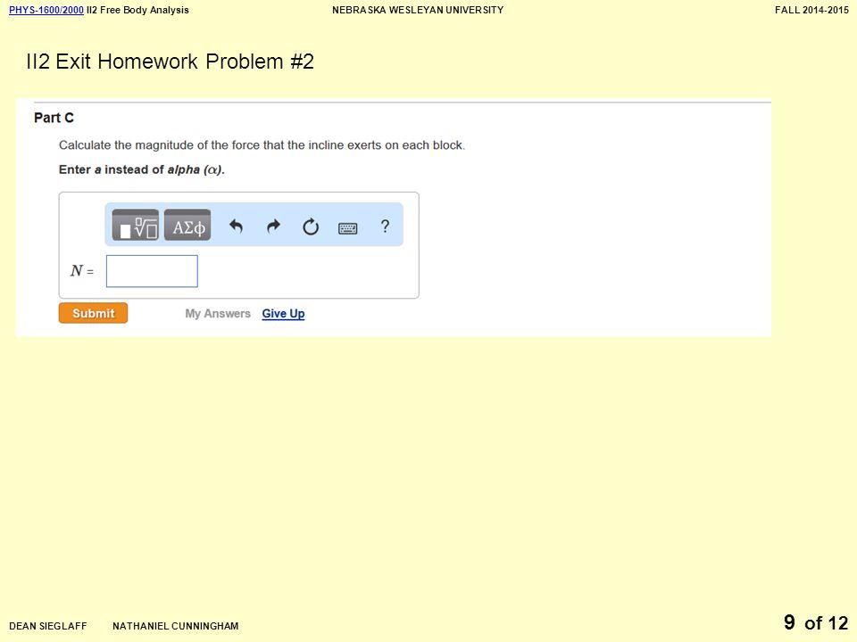 PHYS-1600/2000PHYS-1600/2000 II2 Free Body AnalysisNEBRASKA WESLEYAN UNIVERSITYFALL 2014-2015 DEAN SIEGLAFF NATHANIEL CUNNINGHAM of 12 9 II2 Exit Homework Problem #2