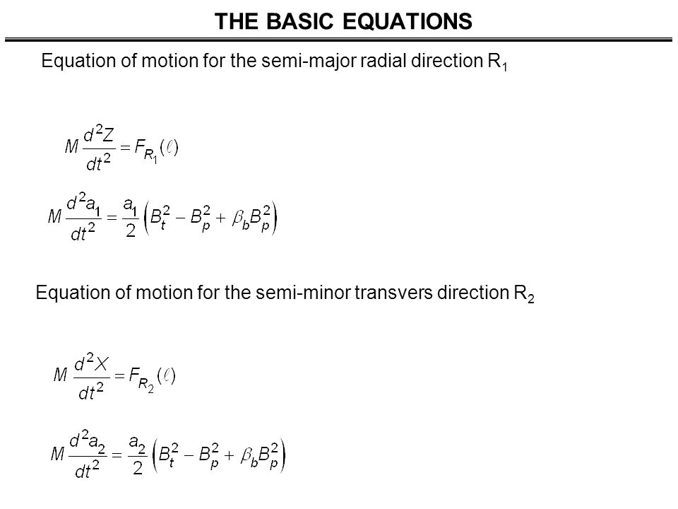 THE BASIC EQUATIONS Equation of motion for the semi-major radial direction R 1 Equation of motion for the semi-minor transvers direction R 2
