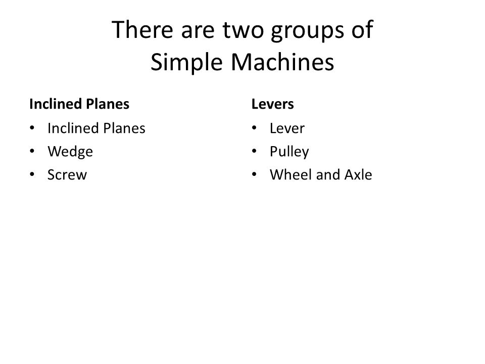 There are two groups of Simple Machines Inclined Planes Wedge Screw Levers Lever Pulley Wheel and Axle