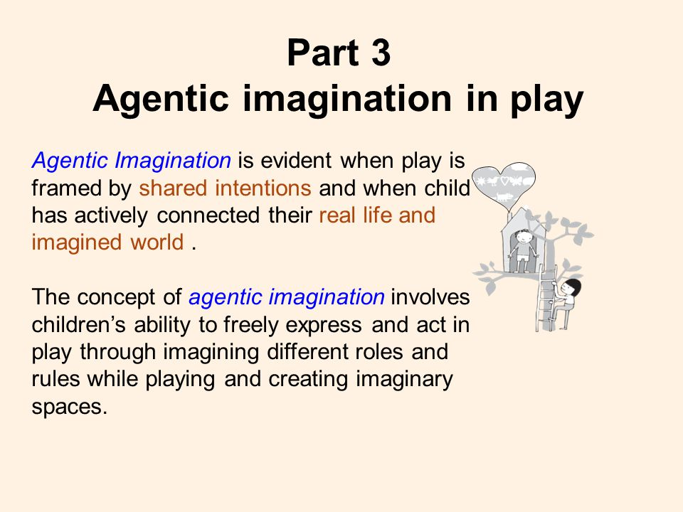 Part 3 Agentic imagination in play Agentic Imagination is evident when play is framed by shared intentions and when child has actively connected their real life and imagined world.