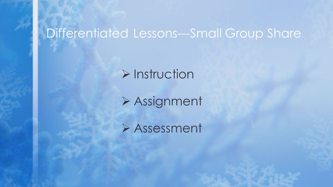  Instruction  Assignment  Assessment Differentiated Lessons---Small Group Share