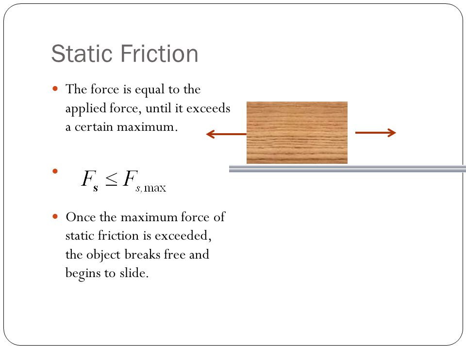 Static Friction The force is equal to the applied force, until it exceeds a certain maximum. Once the maximum force of static friction is exceeded, th