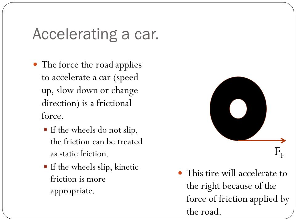 Accelerating a car. The force the road applies to accelerate a car (speed up, slow down or change direction) is a frictional force. If the wheels do n