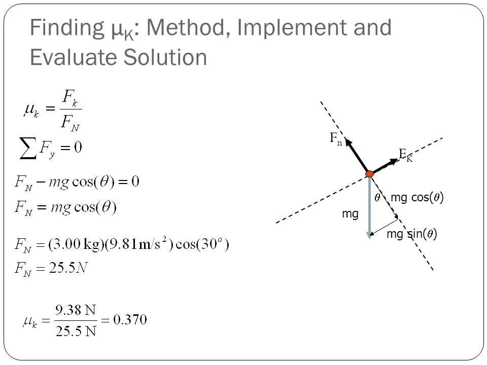 Finding μ K : Method, Implement and Evaluate Solution  mg mg cos(  ) mg sin(  ) FKFK FnFn